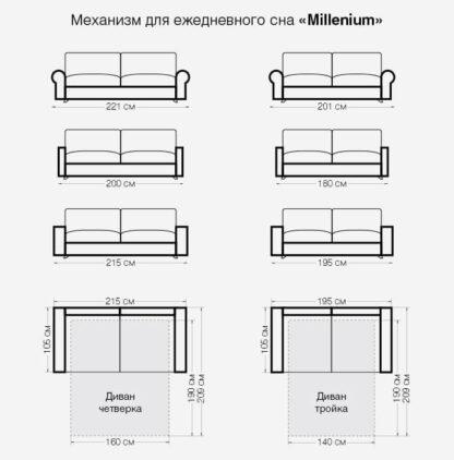 Размеры дивана Портофино