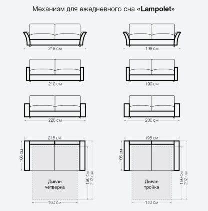 Размеры дивана Ницца