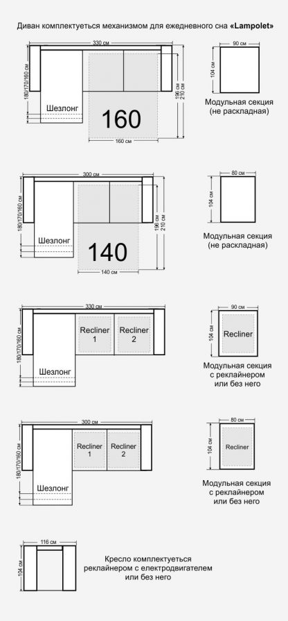Размеры дивана Монако